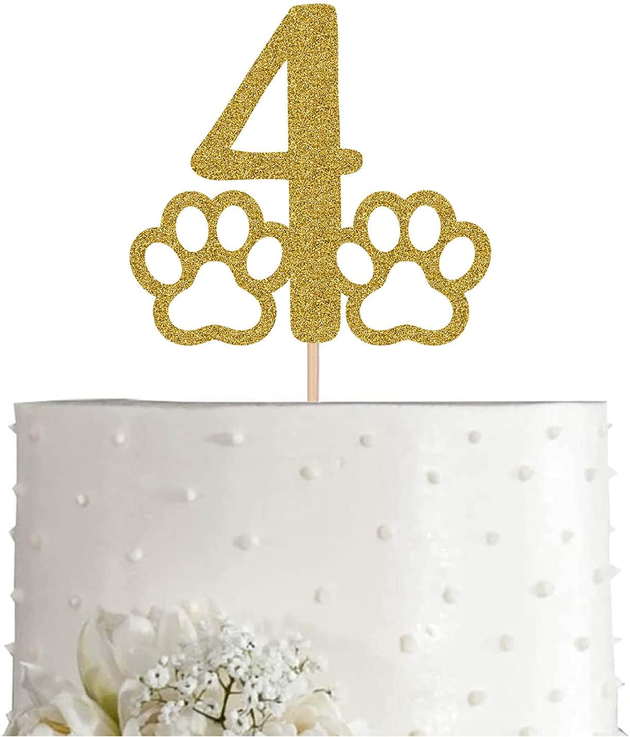 Gold Dog 4 Cake Topper Glitter Lover Birthd 4th Year-end Award-winning store annual account Or Cat