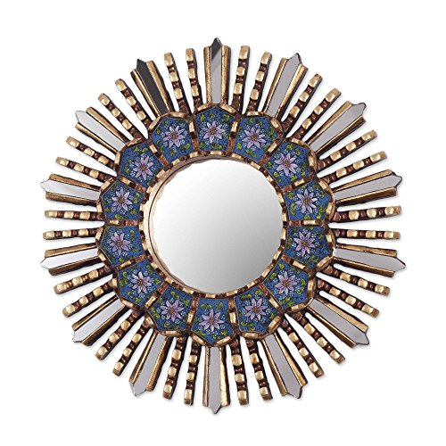 NOVICA Blue Floral Reverse Painted Glass Bronze Leaf Sunburst Star Wall Mirror, Cuzco Blue'