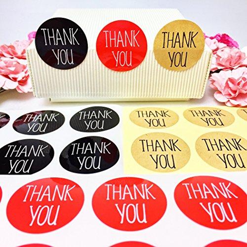 creve Thank you ありがとう 600枚 3cm 円型 ラッピング ラベル ステッカー ギフトシール おしゃれ シンプルフォント 業務用 (黒 赤 クラフト 3色セット)