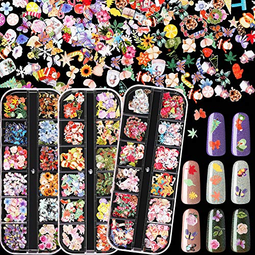 36 Grids Christmas Nail Art Stickers Xmas Flower Butterfly Nail Stickers Decals 3D Christmas Tree Flakes Nail Decals for Christmas DIY Nail Decals Stencil Nail Art Accessories Tips Manicure Decor