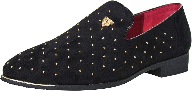 Kansas City Mall CMM Raleigh Mall Men's Pointed Toe Rivet Dress Glitter Siz Loafers Shoes Plus