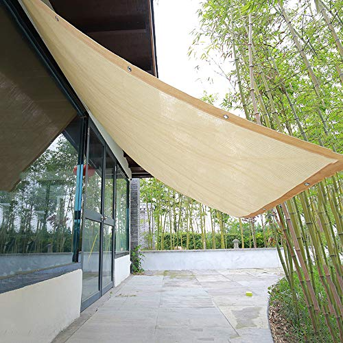Beige schaduwnet, 90% schaduwdoek, met koperen gesp, zonnezeil voor balkon Fence rolluiken, 1 × 1,5 M, 1 × 2 M, 2 × 5 M, 4 × 6 M 4×4m