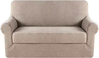 Best H.VERSAILTEX Stretch Sofa Covers 2 Piece for 2 Cushion Couch Covers Sofa Slipcovers Furniture Covers (Base Cover & Seat Cushion Cover) Feature Deluxe Textured Jacquard (Loveseat, Sand) Review