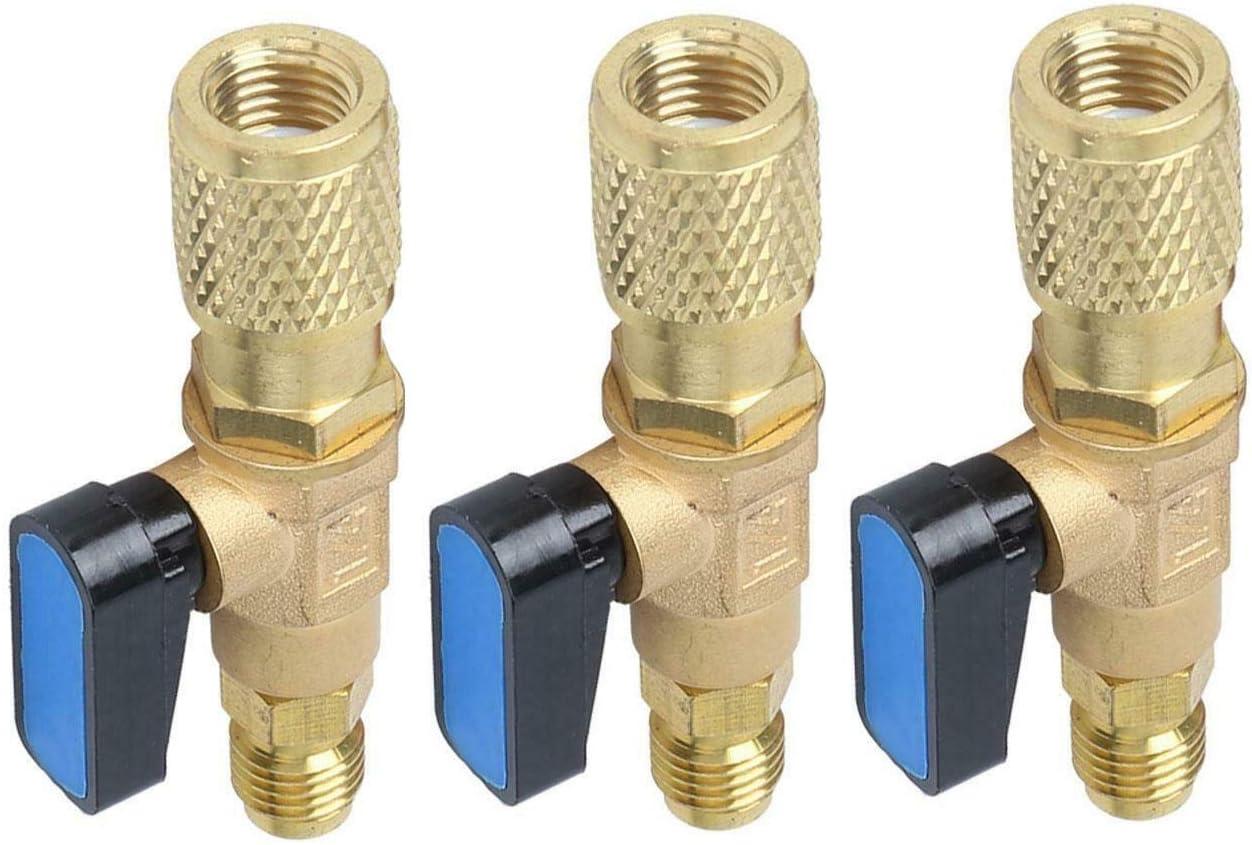"Paraga 3pc HVAC A/C Straight SHUT-OFF Ball Valve Adapter For R134a R22 R12 R410a 1/4"" Air Conditioner - -"