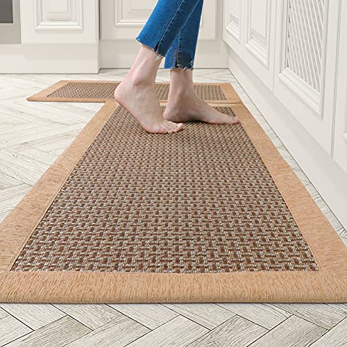 """Kitchen Rugs and Mats Non Skid Washable, Absorbent Rug for Kitchen, Large Kitchen Floor Mats for in Front of Sink, 2 PCS Set 20""""x32""""+20""""x48""""(Brown)"""