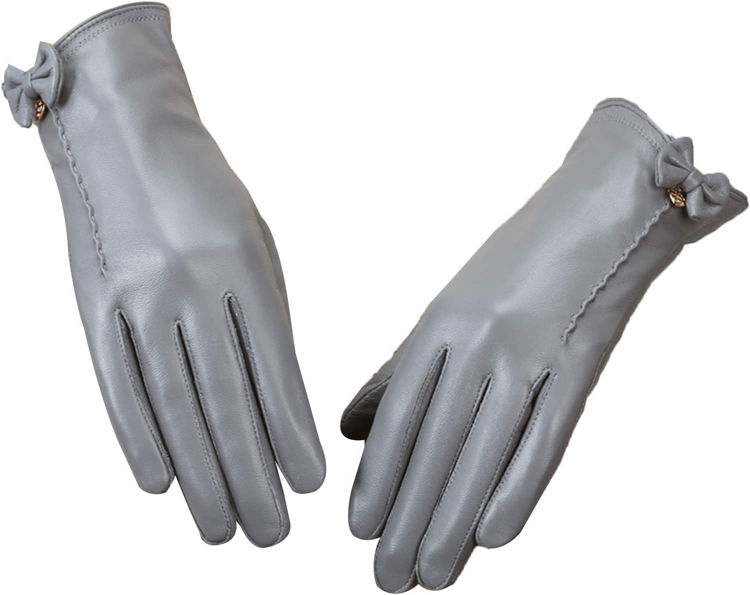 FOLDING Gloves Ladies Pu Leather Winter Gloves with Cold Protection and Velvet Thick Touch Screen (Color : Gray, Size : 23.5cm/9.3in)