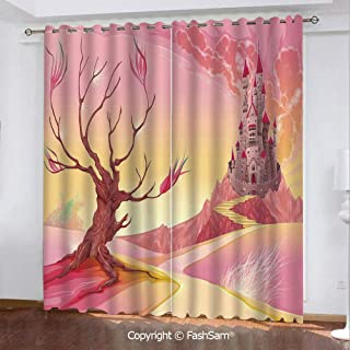 "Best Home Fashion Blackout Curtains Princess Castle on Valley and Tree Fairytale Girls Childish Cartoon Design Window Treatment Pair for Bedroom(84""X84"")"