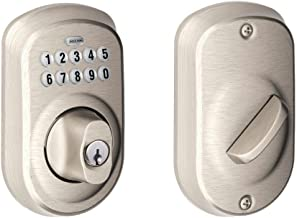 Schlage BE365 PLY 619 Plymouth Keypad Deadbolt, Satin Nickel