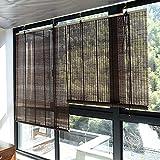 Yuanoo Roll'Up Roller Pied Bamboo, Cortina de Sombra Marrón, Privacidad de Bambo Natural Privaciones Solados Solados Solados Solados Solados de Pistancia Blackout, Vintage Decorativo para Ventana/P
