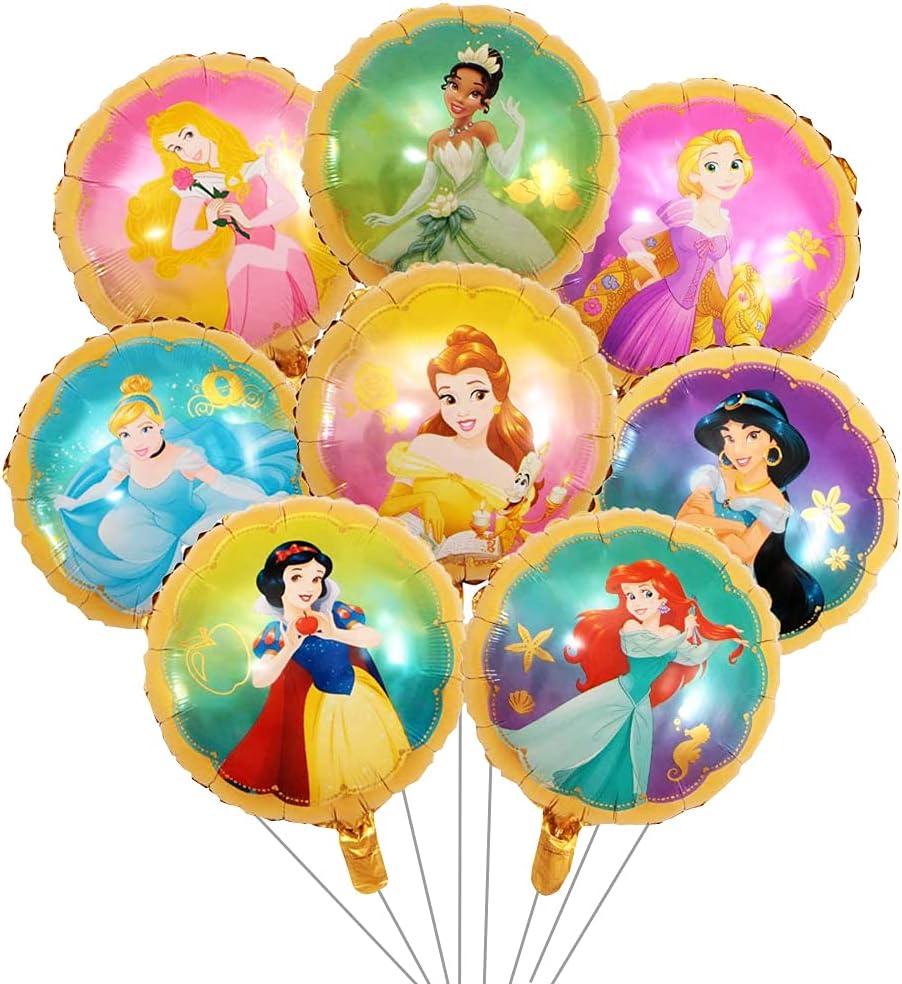 Babioms 8PCS Princesa Globo, Cenicienta, Campana, Blancanieves , Bella Durmiente &Reina de las Nieves, Globos Cumpleaños Decoracion de Princesa