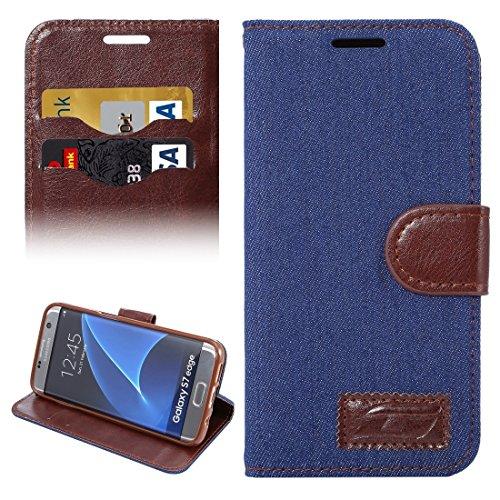 XYAL0002001 Xingyue Aile Hoesjes & Hoezen Voor Samsung Galaxy S7 Edge/G935, Jeans Horizontale Flip Lederen Hoesje met Houder & Kaartsleuven, Donkerblauw