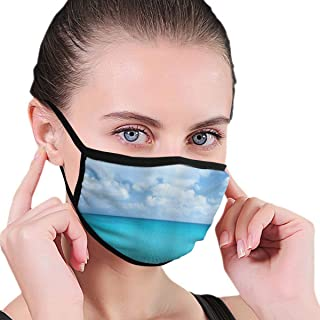 KISSENSU Solitude Peaceful Beach Scene with Blue Ocean and Cloudy Sky Pattern Fabric Half Face Mask Mouth Masks with Earmuffs Anti Dust Anti Haze Windproof Mask