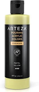 Arteza Acrylic Pouring Paint, 8 oz (236 ml), A100 Pastel Yellow, High-Flow Acrylic Paint, No Mixing Needed, Paint for Pour...