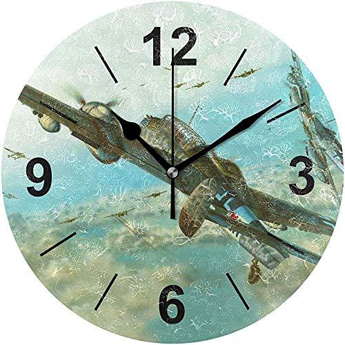 L.Fenn Wandklok rond sea voertuig vliegtuig vis onderwater militair diameter stil decoratief voor thuis kantoor keuken slaapkamer