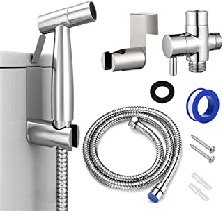 Bidet Sprayer, Cloth Diaper Sprayer Handheld Toilet Sprayer Kit Stainless Steel Easy Install Great Water Pressure for Washing Chrome, Silver