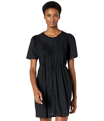 Madewell Lace Trim Pin Tuck Button-Front Mini Dress