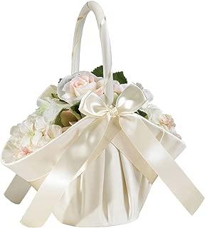 Lillian Rose Elegant Large Ivory Satin Flower Girl Basket