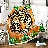 Manta Polar Felpa de Sofá Tigre Animal Amarillo Verde Hoja Negra Mantas de Lana para sofá/Cama Manta de Felpa para Todas Las Estaciones para Adultos y niños 70 cm x 100 cm