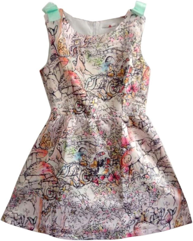 Fashion Print White Dress Wedding Guest Dress with Belt Sleeveless Medium