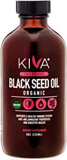 Kiva Organic Black Seed Oil (Cumin Seed) - Glass Bottle -RAW, Cold-Pressed and Non-GMO Contains Minimum 1.60% Thymoquinone...