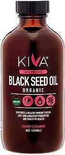 Kiva Organic Black Seed Oil (Cumin Seed) - Glass Bottle -RAW, Cold-Pressed and Non-GMO Contains Minimum 1.60% Thymoquinone (TQ) - 8oz / 235ml