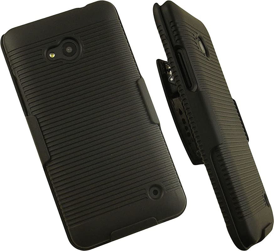 NAKEDCELLPHONE'S Black Ribbed Rubberized Hard CASE Cover Belt Clip Holster Stand for Microsoft Lumia 640 Phone (T-Mobile, Metro PCS, Unlocked)