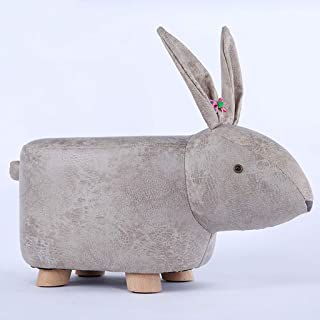 FOIFO Upholstered Animal Ottoman Footstool Leather Footrest Sofa Foot Stool Wood Changing Shoes Stool with Vivid Adorable Bunny/Pig-Like Features Creative for Kids and Adults Gift,Decoration, Toys