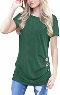 Short Sleeve Tunics for Women to Wear with Leggings Loose Button Trim Blouse Solid Color Round Neck T-Shirt