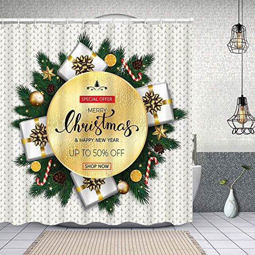 Dfform Cortina Baño,Feliz Navidad Venta Banner Abeto,Cortina de Ducha Tela de Poliéster Resistente Al Agua Cortinas de Ducha Baño con 12 Ganchos,180x180cm