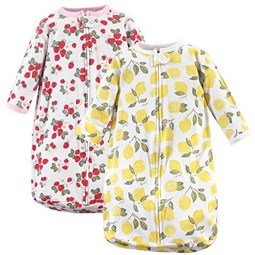 Hudson Baby Unisex Baby Long Sleeve Wearable Sleeping Bag/Blanket, 0-3 Months (3M), Strawberry/Lemon 2-Pack