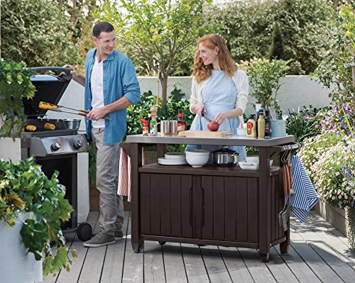 Keter Unity XL Portable Outdoor Table with Storage Cabinet and Stainless Steel Top, and Grilling Accessories, X-Large, Espresso Brown