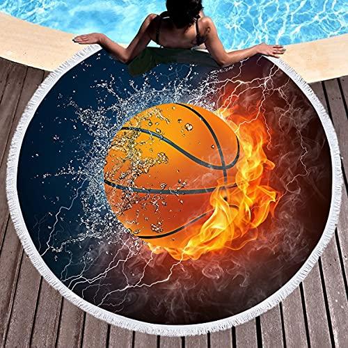YUANCHENG Manta de Baloncesto con Bloqueador Solar, 150 cm, Esterilla de Yoga, Manta Negra Impresa de Toalla