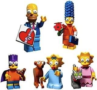 LEGO Simpson Family-Valentine's Day Homer, Date Night Marge, Bart As Bartman, Lisa & Snowball II, Maggie & Santa's Little Helper Simpsons Collectible Minifigures Series 2 Custom Bundle 71009