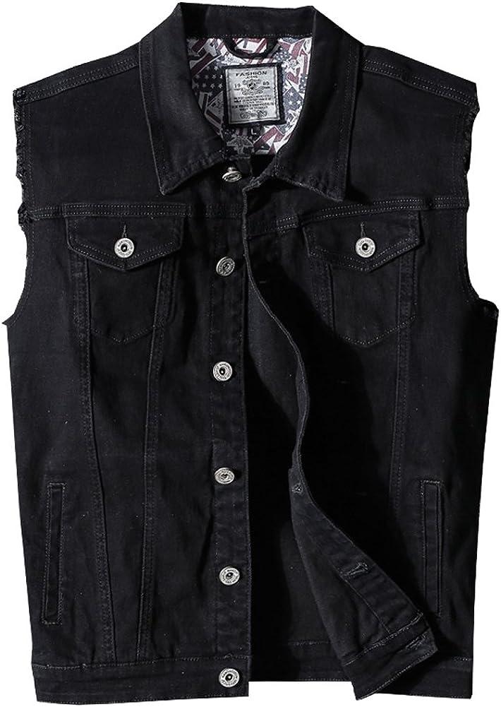 JYG Men's Full Button Motorcycle Denim Vest