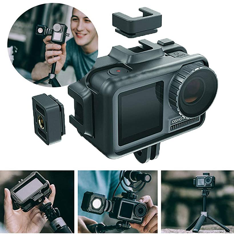 Sodoop PC +Silicone Film Movie Making Camera Video Cage for DJI Osmo Action, Protective Housing Frame Case Universal Interface Expansion Accessories for DJI Osmo Action 4k Camera