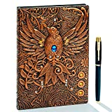 Vintage 3D Phoenix Embossed Leather Writing Journal Notebook with Golden Pen Set,A5,200Pages,Antique Handmade