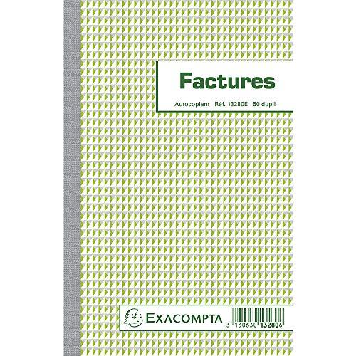 EXACOMPTA 13280e Manifold de 50 factures autocopiantes dupli 21 cm x 13.5 cm numérotée de 1 à 50