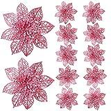 GL-Turelifes Paquete de 12 flores artificiales con purpurina para árbol de Navidad, 15 cm, cabezas de flor de pascua (rosa).
