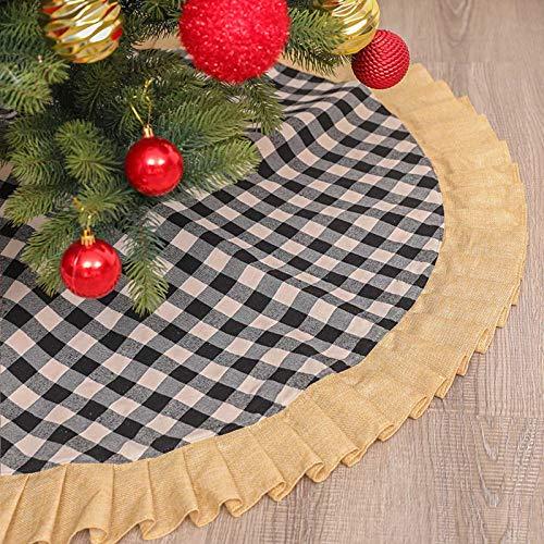 LBWNB Christmas Tree Skirt Mat Christmas Holiday Decorations 48 Inch Plush Fur Christmas Tree Skirt for Xmas Year Party Holiday Home Decorations,Brown