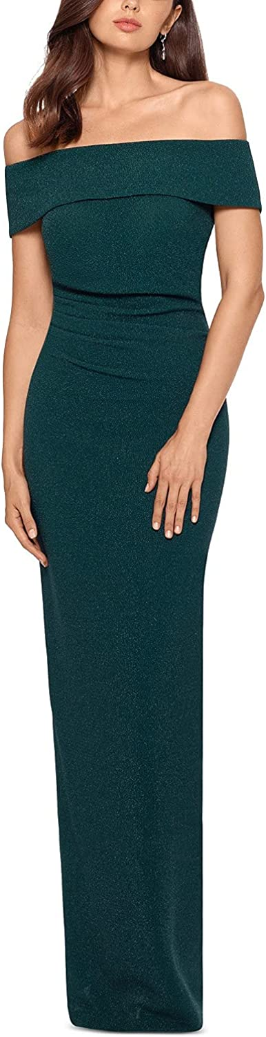 Xscape Glitter Off-The-Shoulder Gown, Hunter Green, 8