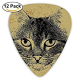 Retro Style Grunge Kitty Portrait Hipster Animal Staring Hairy Friend Artisan Guitar Picks 12/Pack