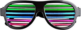 Kicsto Sound & Music Reactive LED Glasses Rechargeable Musical Shades, Slotted Shutter Flash Light Eye-wear for Nightclub, Bar, Disco, Carnival, Halloween, Dancing Party, Black