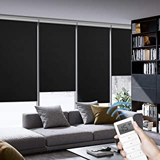Graywind Motorized Roller Shades 100% Blackout Window Shades Cordless Thermal Insulated Window Roller Blinds with Valance and Triple Weaved Fabric for Smart Home and Office, Customized Size, Black
