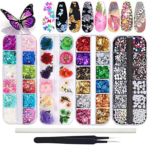 Kalolary Nail Dried Flowers, Schmetterling Pailletten Nagellack, Nagelaufkleber aus Aluminiumfolie, Nail Art Strass mit Pinzette Nail Art Strass Picker Pencil, für 3D Nail Art Design DIY Dekorationen