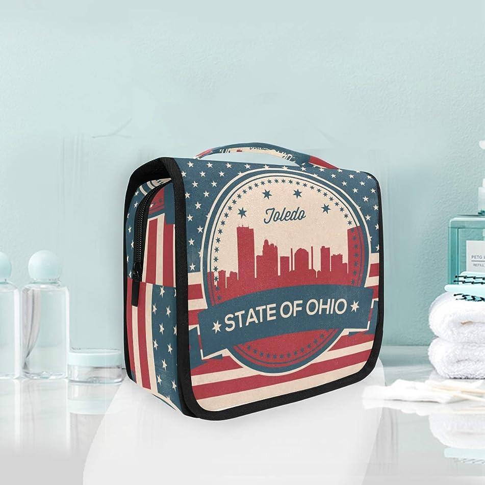 Ohio State Toledo Skyline Large Hanging Toiletry Bag Waterproof Cosmetic Bag Makeup Travel Pouch Purse Organizer Wash Gargle bag
