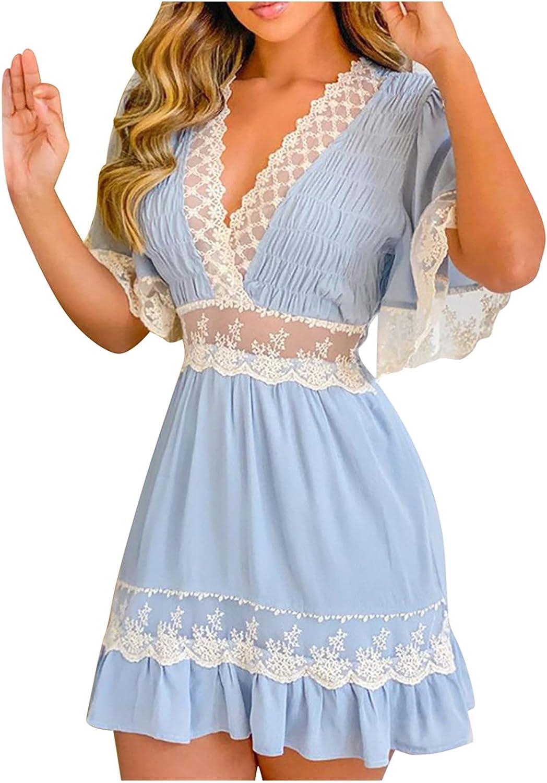 Women Ruffle Dress Floral Print Lace Trim Short Sleeve V Neck A-Line Swing Short Mini Dress Elegant Sundress Vestidos
