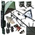 OAKWOOD Carp fishing Set Up With Rods Reels Alarms Net Holdall Bait Bivvy & Tackle 2 WAY from Oakwood