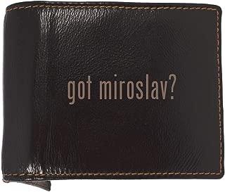 got miroslav? - Soft Cowhide Genuine Engraved Bifold Leather Wallet