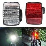 Fahrrad Reflektor Lenkerhalterung sicher Reflektor Fahrrad vorne hinten Warnung rot/weiß, 2 Stück