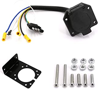 UTSAUTO 4 Flat to 7 Way Blade Trailer Adapter Light Plug Wire Harness Converter Adapter with Mounting Bracket Kit for Car Truck RV Boat